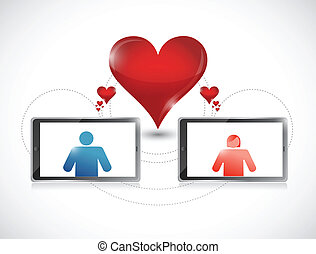 tablet. online dating graphic concept.