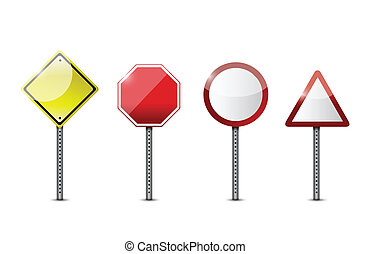 set of blank road sign. illustration design