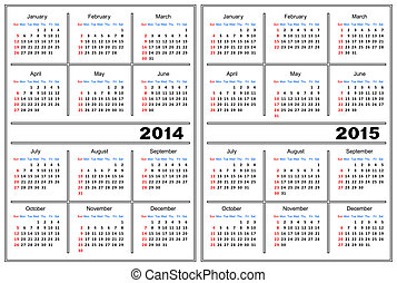 Calendar template 2014,2015 - Template of a calendar of...