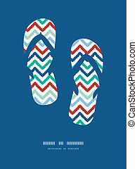 Colorful ikat chevron frame flip flops decor pattern...