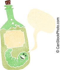 retro cartoon tequila bottle with talking worm