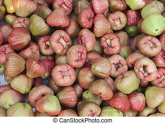 Heap of rose apples as seen on the market in Phan Thiet,...