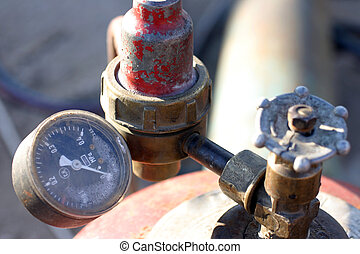 Pressure gauge - Old gas pressure gauge closeup