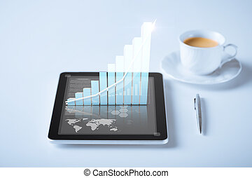 tablet pc with virtual graph or chart