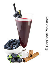 Blueberry juice with fruit sliced on white