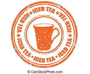 Iced tea-stamp - Grunge rubber stamp with text Iced...
