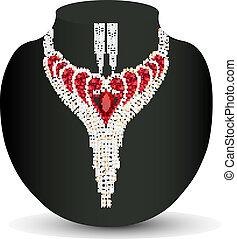 hembra, collar, pendientes, rojo, precioso, piedras