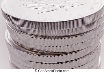 Silver Coins - Close up of Silver Coins