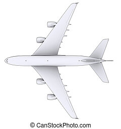 Large white plane. Isolated render in lines