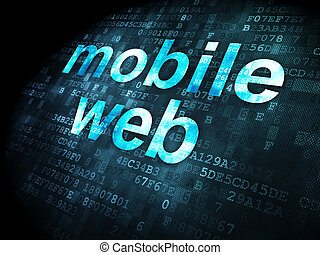 SEO web development concept: Mobile Web on digital...