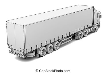 Sketch white truck Isolated render on a white background