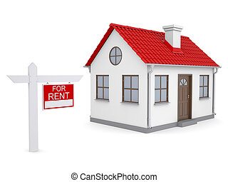Small house and sign a lease Isolated render on a white...