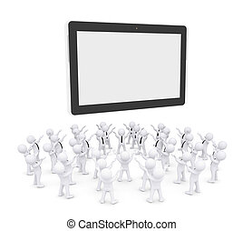 Group of white people worshiping tablet PC. 3d render...