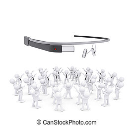 Group of white people worshiping google glass. 3d render...