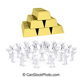 Group of white people worshiping gold bricks. 3d render...