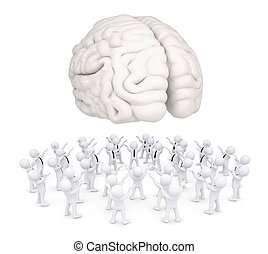 Group of white people worshiping brain. 3d render isolated...