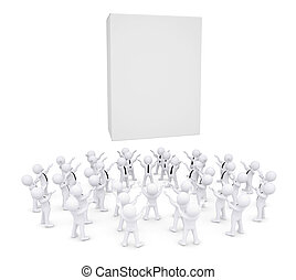 Group of white people worshiping box