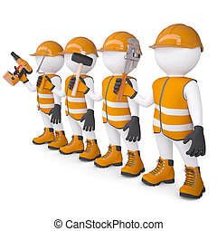Four 3d white mans in overalls with a tools. Isolated render...