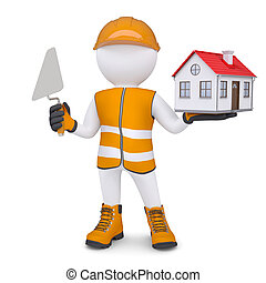 3d man in overalls with trowel and house Isolated render on...