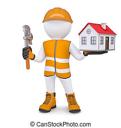 3d man in overalls with wrench and house. Isolated render on...