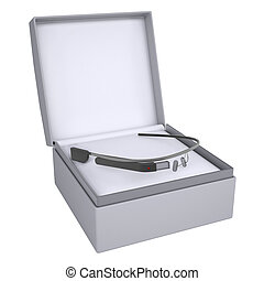 Google glass in open gift box. 3d render isolated on white...