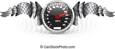 Racing emblem with speedometer and checkered flags Vector...