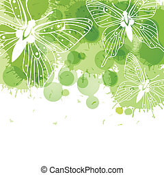Beautiful vector background with butterflies and green spots