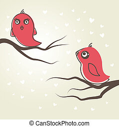 Birds in love. Vector illustration.