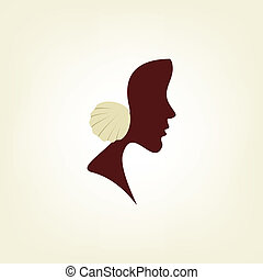 Stylized profile of a woman with seashell