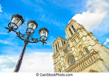 Notre Dame de Paris Cathedral on Ile Cite island and street...