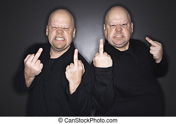 Men giving middle finger - Caucasian bald mid adult...