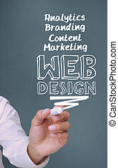 Businessman writing web design with a marker on grey...