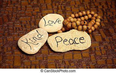 paz, amor, clase, rocas