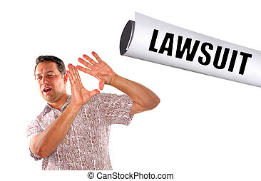 slapped with lawsuit - young man being slapped with lawsuit...