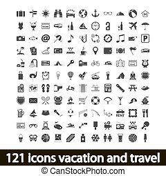 121 icons vacation and travel Vector illustration