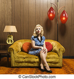 Retro woman portrait - Attractive Caucasian woman sitting in...