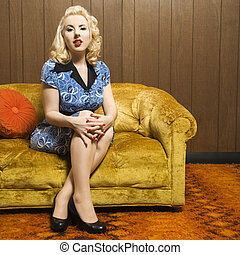 Retro woman portrait. - Attractive Caucasian woman sitting...