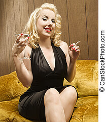 Happy hour woman. - Attractive Caucasian woman holding a...