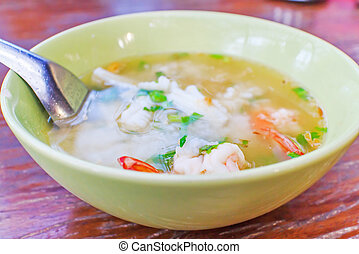 Boiled rice sea - Thai congee with shrimp and squid for...