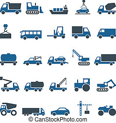Vector icons of construction and trucking industry. Set...