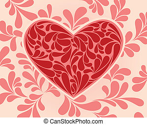 Vector symbol of the heart with swirls.
