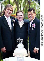 Gay Wedding Couple with Minister - Handsome gay couple and...