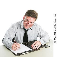 hombre de negocios, toma, notas
