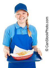 Teen Worker Serves Burger and Fries - Teenage fast food...