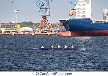 Rowing Boat in Port of Kiel