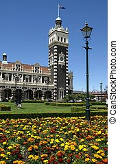 Clock tower at Dunedin Railway Station, New Zealand