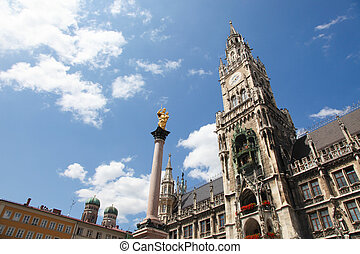 Munich - Altes Rathaus, the old town hall, and the column of...