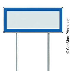 Information Road Sign Isolated, Blank Empty Signpost Copy Space For Icons, Pictograms, Large Roadside Info Signage Pole Post Signboard Pointer In Blue Black White