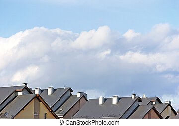 Row house roofs, condo rooftop panorama and bright summer...
