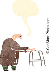 retro cartoon elderly man